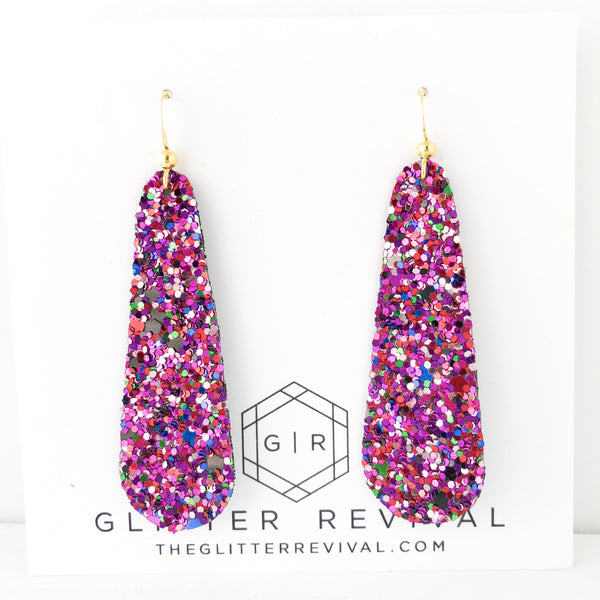 Mixed Berry Glitter Simple Drop Earring