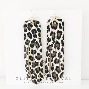 Cheetah Genuine Leather Fringe Earrings