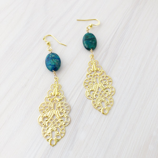 Blue Lapiz Filigree Earrings