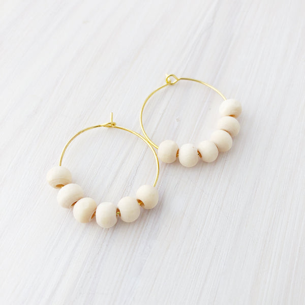 Wood Beaded Petite Hoop Earrings