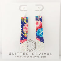 Navy Floral- Double Layer Skinny Bar Earring