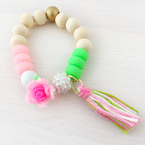 Full Bloom Tassel Bracelet- Pink & Green