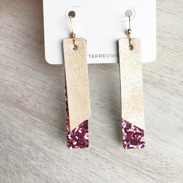 Nude Oil Slick & Berry Jubilee- Double Layer Skinny Bar Earring