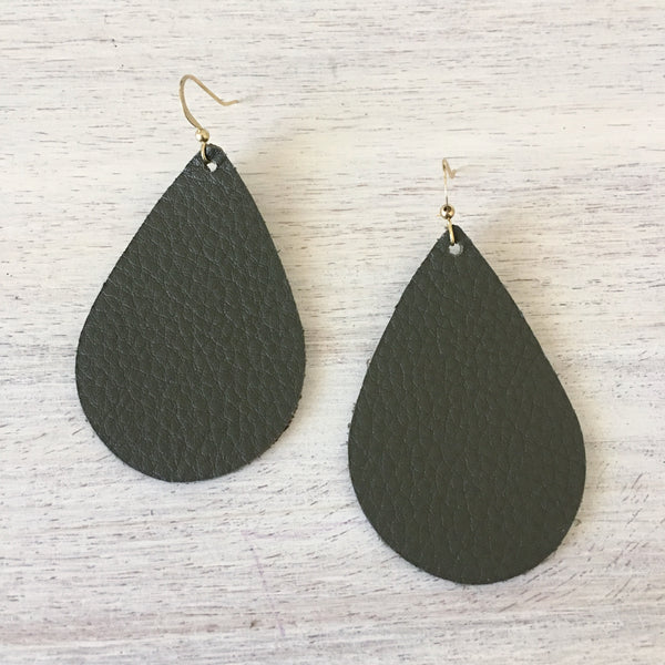 Army Green Genuine Leather Earrings