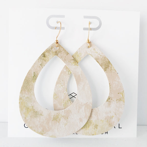 Gold Metallic Marble Teardrop Cutout Hoop Earring