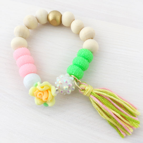 Full Bloom Tassel Bracelet- Yellow