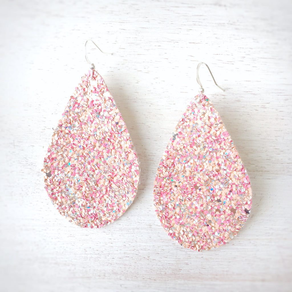 Pink Sand Glitter Earrings