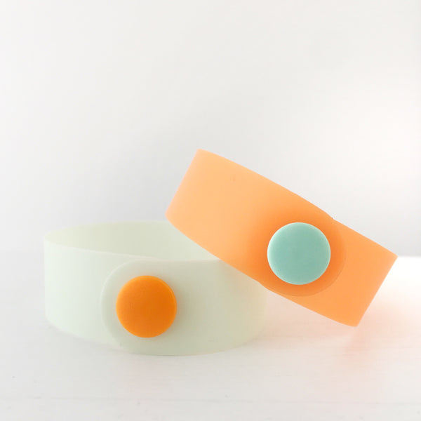 Tangerine & Honeydew Jelly Snap Bracelet Set