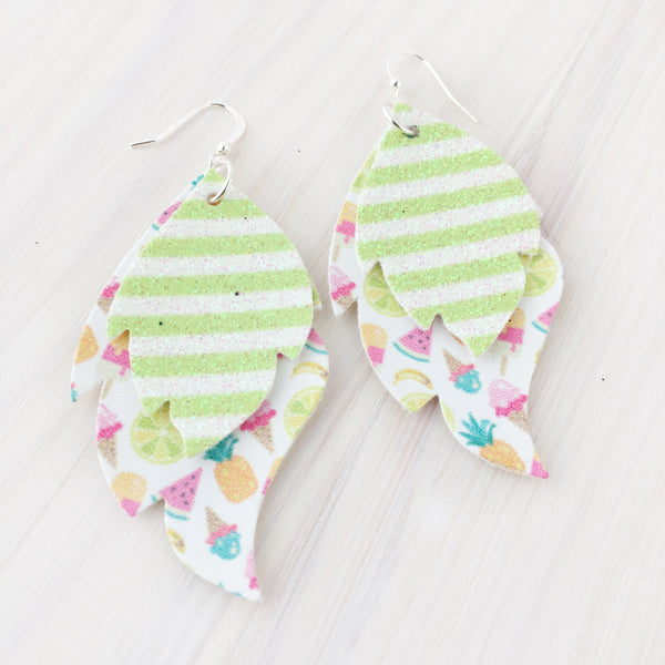 Summer Fruits Layered Leaf Earrings