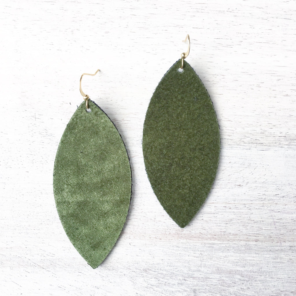 Hunter Green Velvet Earrings
