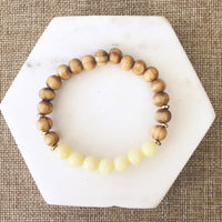 Lemon Jade and  Wood Essential Oil Diffuser Bracelet