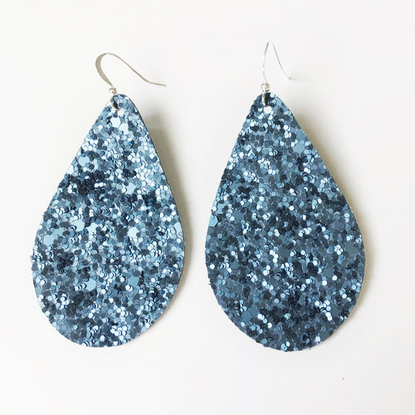 Matte Denim Glitter Earrings