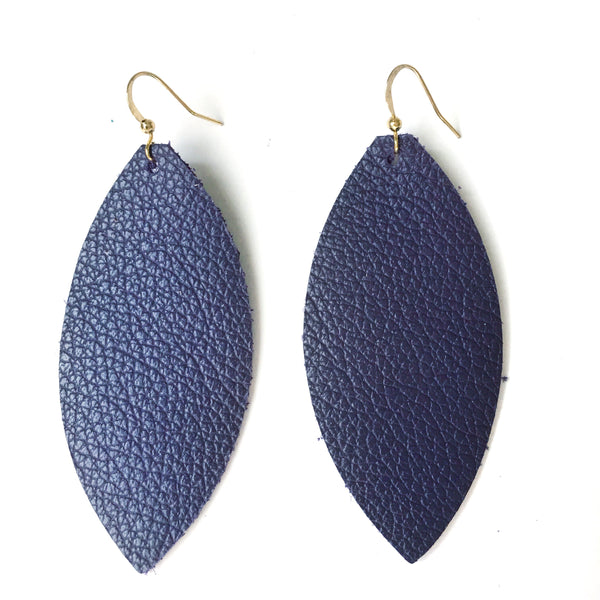 Deep Purple Genuine Leather Earrings