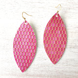 Pink Honeycomb Vegan Leather Earrings