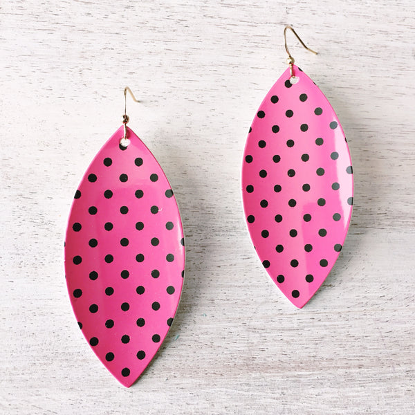 Pink Patent Polka Dot Vegan Leather Earrings