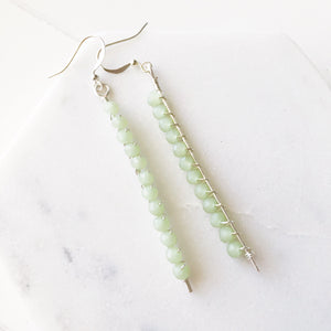 Cactus Jade Wrapped Gemstone Stick Earrings