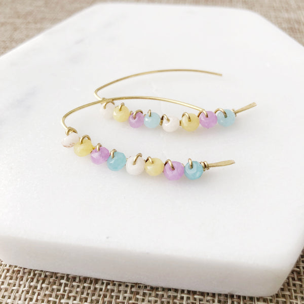 Pastel Jade Wire Wrapped Earrings