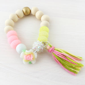 Full Bloom Tassel Bracelet- White