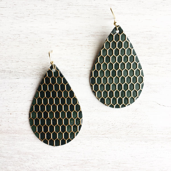 Emerald Honeycomb Vegan Leather Earrings