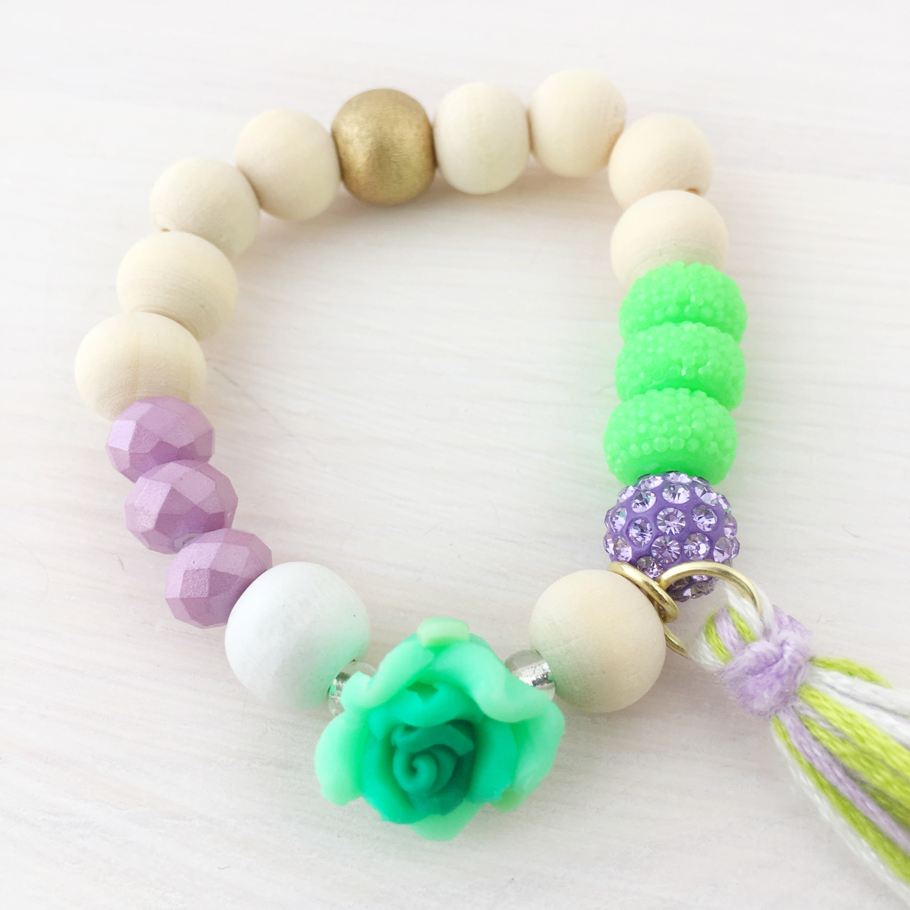 Full Bloom Tassel Bracelet- Green