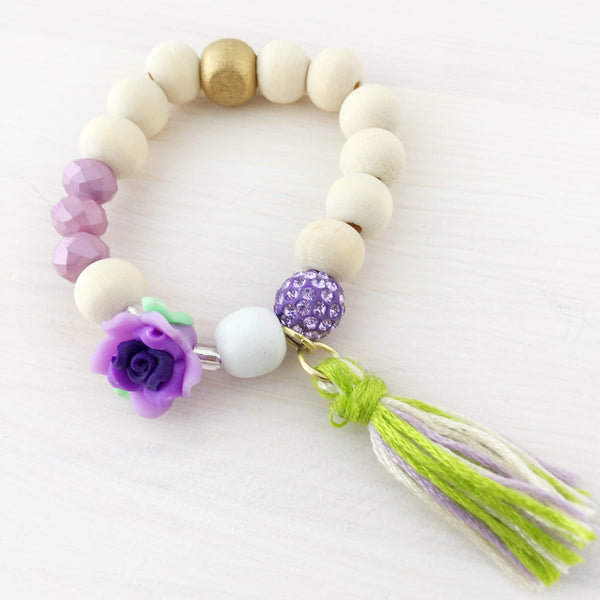 Full Bloom Tassel Bracelet- Purple