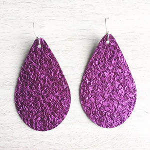 Amethyst Druzy Vegan Leather Earrings