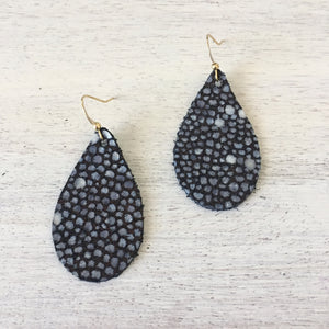 Black Stingray Genuine Leather Earrings