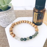 Green Aventurine and Wood Essential Oil Diffuser Bracelet