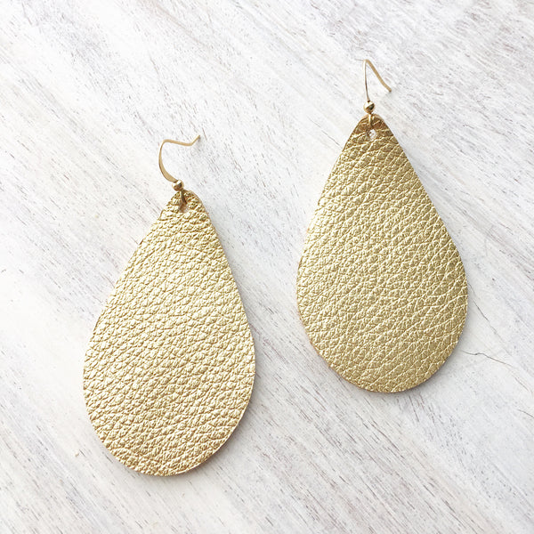 Gold Metallic Genuine Leather Earrings