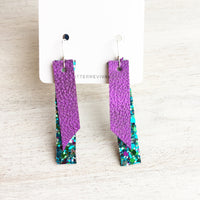Purple Metallic & Mermaid Tail- Double Layer Skinny Bar Earring