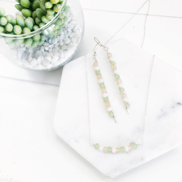 Desert Sunrise Jade and Crystal Bar Necklace