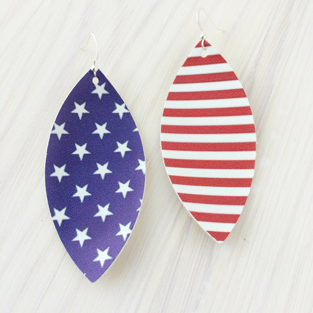 'Merica Vegan Leather Earrings