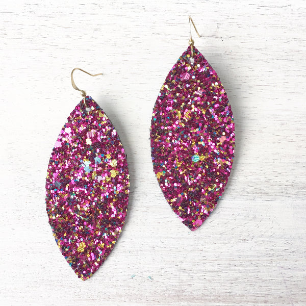Magenta Muse Glitter Earrings