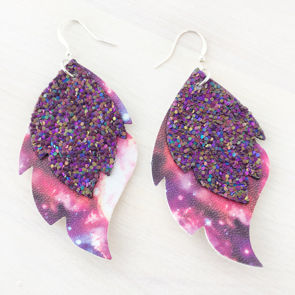 Galaxy Girl Layered Leaf Earrings