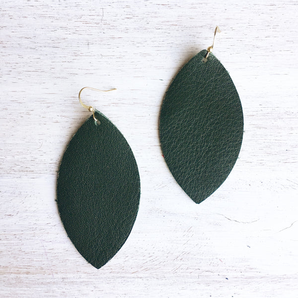 Hunter Green Genuine Leather Earrings