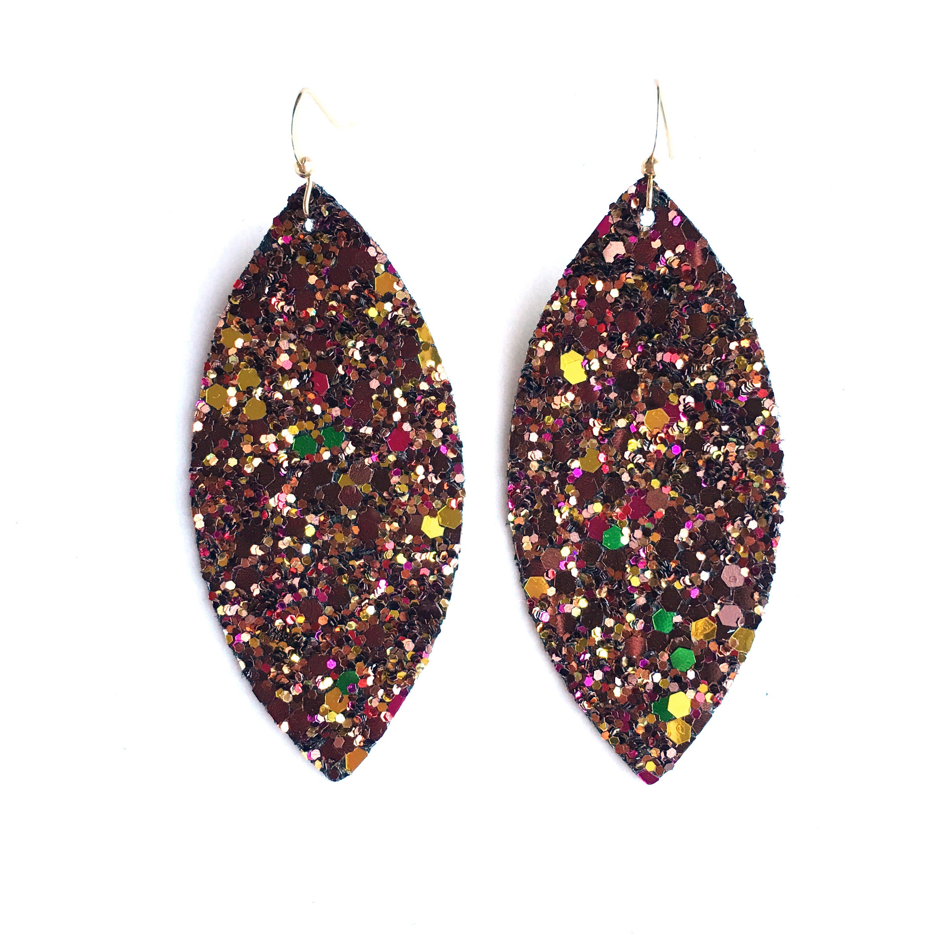 Chocolate Covered Cherry Glitter Earrings