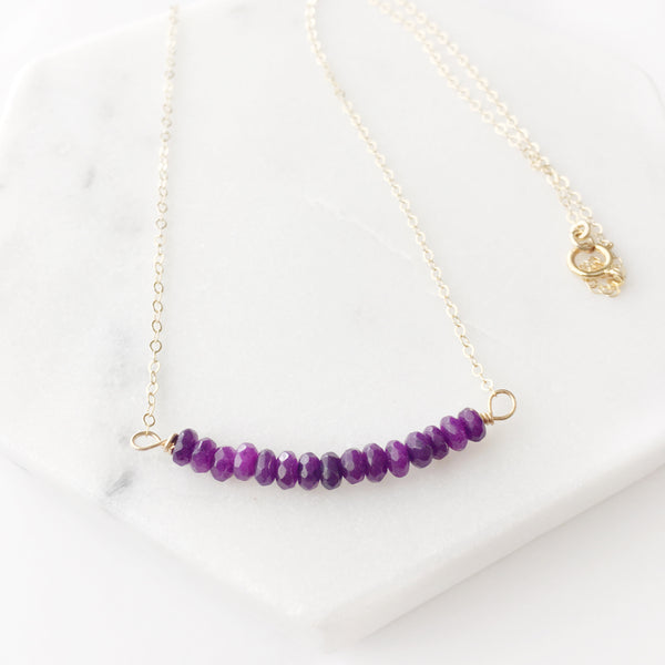 Demeter Purple Agate Bar Necklace