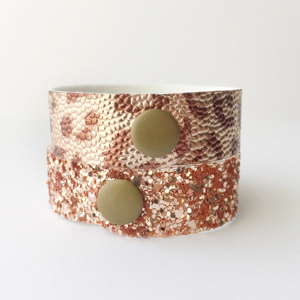 Rose Gold Leopard Glitter Snap Bracelet Set