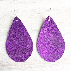 Purple Metallic Patina Vegan Leather Earrings
