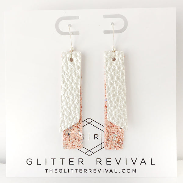 Silvered Blush- Double Layer Skinny Bar Earring