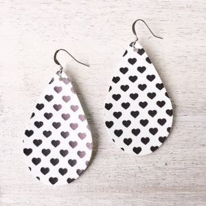 Black and White Hearts Vegan Leather Earrings