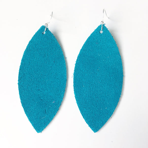 Bright Teal Suede Genuine Leather Earrings