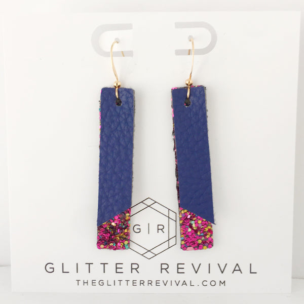 Navy & Magenta Muse- Double Layer Skinny Bar Earring