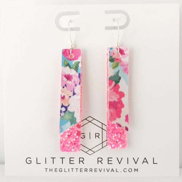 Blue Spring Floral- Double Layer Skinny Bar Earring
