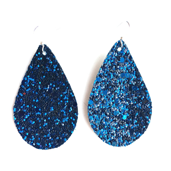 hook earrings shop glass glitter cabochon blue ljh handmade dangle drop