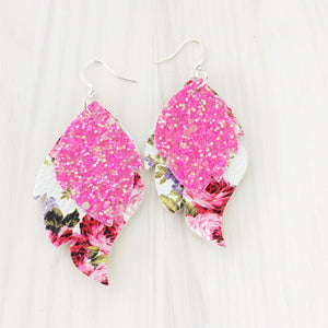 Magenta Floral Layered Leaf Earrings