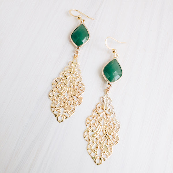 Dana Filigree Earring- Green