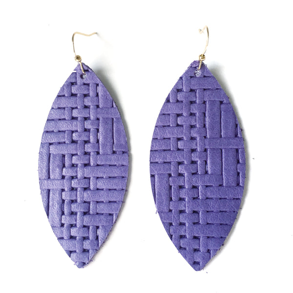 Lavender Woven Genuine Leather Earrings