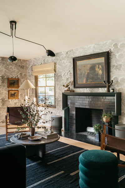 fireplace with black tile