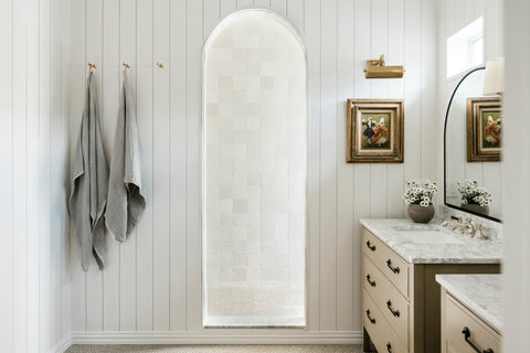 bathroom with white handcraft tile